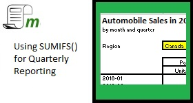 using sumifs for quarterly reporting