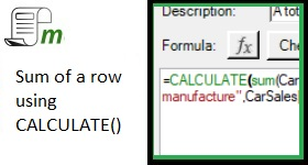 Sum of a row using CALCULATE()