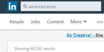 Linked in search showing 68,292 results for advanced Excel.