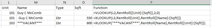 Using XLOOKUP to return values by column.