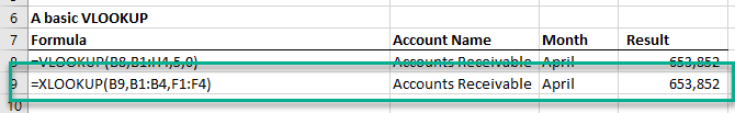 An example of a basic XLOOKUP in Excel to provide results based on an account name.