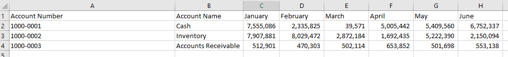 A set of sample data for demonstrating the XLOOKUP in Excel functionality.