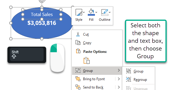 Grouping the total sales shape and text box.