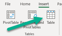The Insert / Table option in Excel.