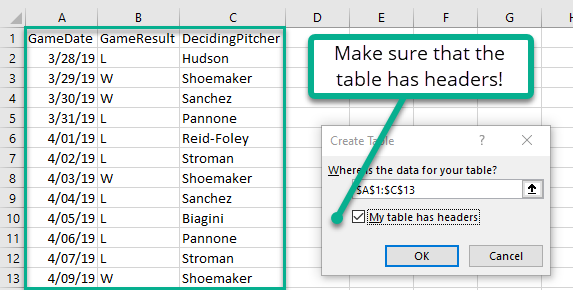Setting up the the range to convert to an Excel data table.