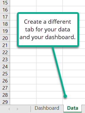 Using different tabs for data and dashboards.