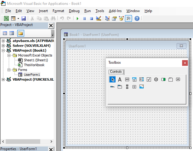 An example of a VBA form in developer view in Excel.