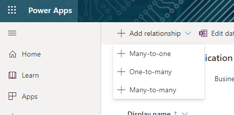 Adding a relationship requires a drop-down menu in CDS.