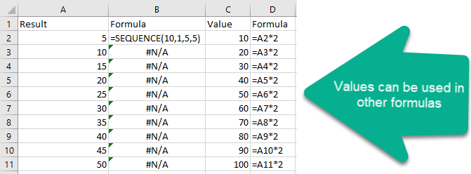 Values from dynamic arrays can be used in other formulas.