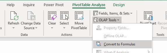 The convert pivot table to OLAP tools option.