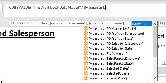 Selecting a measure using Intellisense.