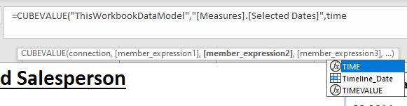 Selecting a slicer using Intellisense.