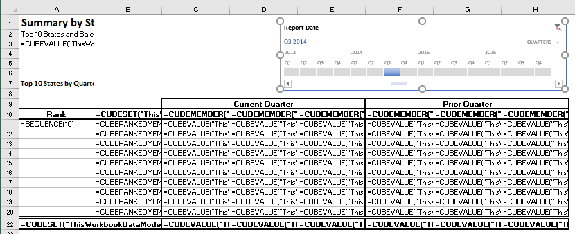 A power pivot converted to cube formulas showing the cube formulas.