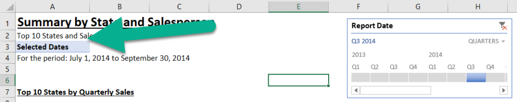 A pivot table used to extract a single date measure.