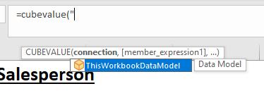 Adding the cube connection; thisworkbookdatamodel.