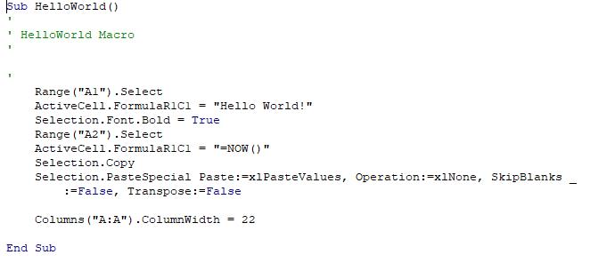 The Hello World code as run in VBA.