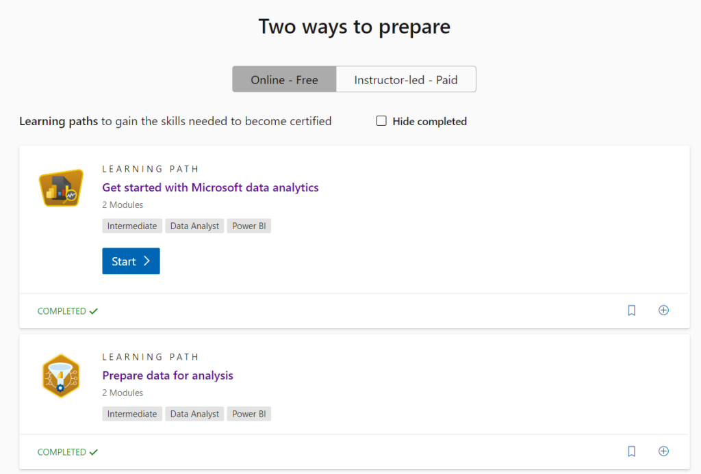 The Microsoft Learn path for the DA-100 exam.