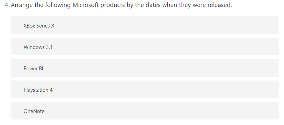 Put the number of Microsoft products in the correct order by release.
