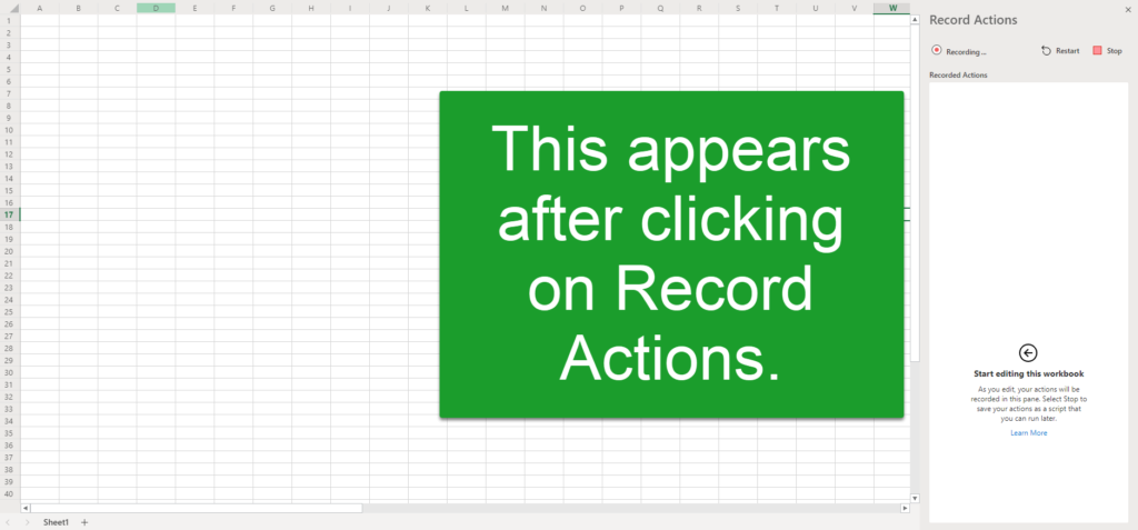 The record actions window in Office Script.